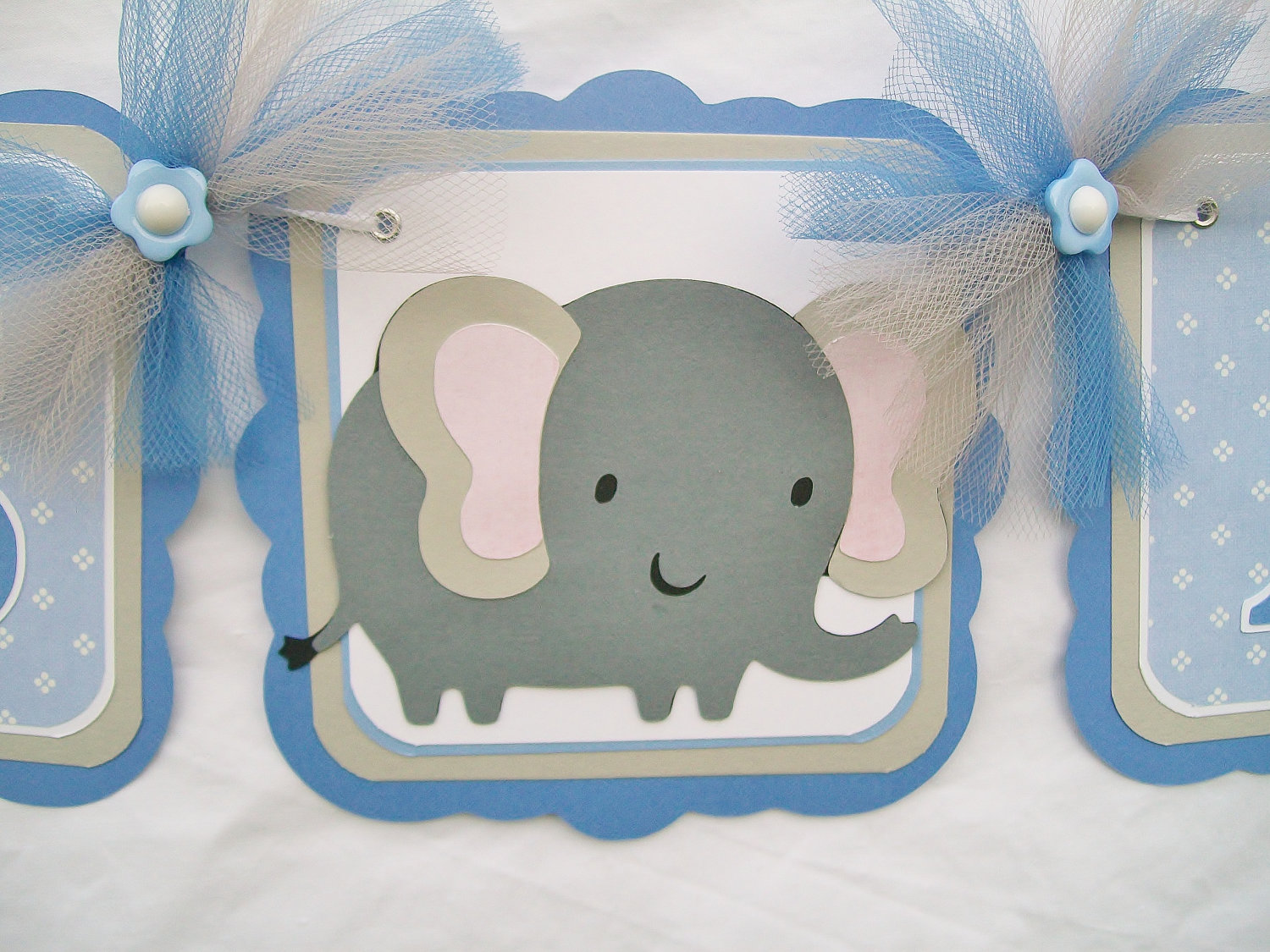 Elephant Baby Shower Banner Blue Grey White Its A Boy On Luulla